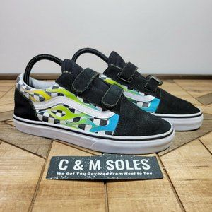 Vans Ward Flame Checkered Womens 7.5 Youth 6 Green White Black Skate Low Top